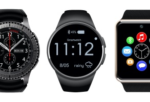 Smartwatch wearable computer accessory isolated, wristwatch realistic vector illustration.