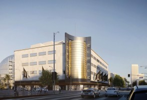 A rendering of the Academy Museum of Motion Pictures at Fairfax Avenue and Wilshire Boulevard