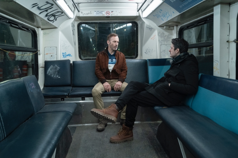 """(from left) Bob Odenkirk and director Ilya Naishuller on the set of """"Nobody."""""""