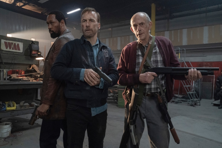 """(from left) Harry Mansell (RZA), Hutch Mansell (Bob Odenkirk) and David Mansell (Christopher Lloyd) in """"Nobody,"""" directed by Ilya Naishuller."""
