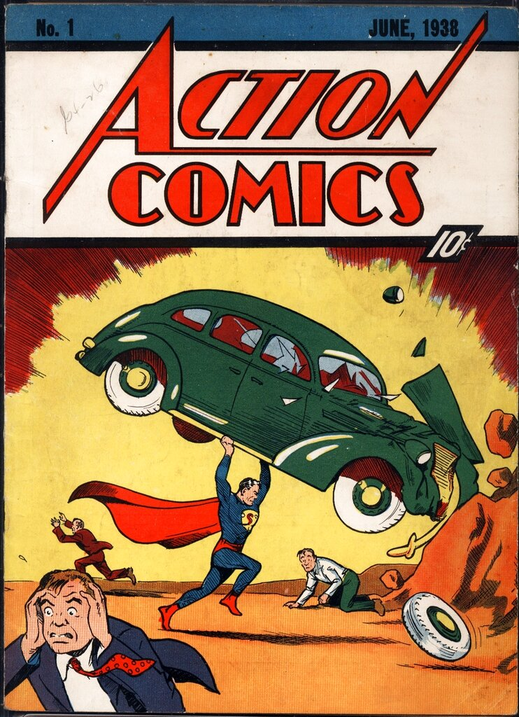 """This image, released by Metropolis Collectibles Friday, Feb. 27,2009 in New York, shows the June, 1938 cover of Action Comics. Copies of the Action comic book that launched Superman in 1938, originally costing 10 cents, are worth about $125,000 if in """"fine"""" condition. The comic book will be auctioned online for two weeks beginning Friday at comicconnect.com. (AP Photo/Metropolis Collectibles) ** NO SALES **"""