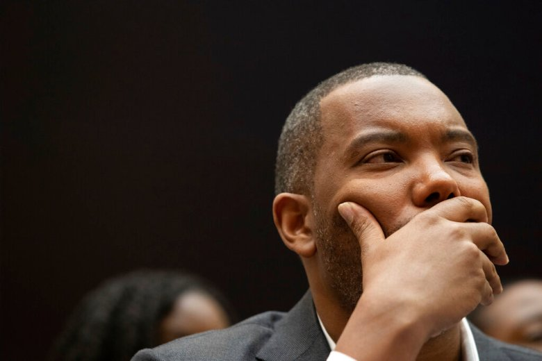 Writer and journalist Ta-Nehisi Coates, testifies about reparations for the descendants of slaves during a hearing before the House Judiciary Subcommittee on the Constitution, Civil Rights and Civil Liberties, on Capitol Hill in Washington, D.C. on Wednesday June 19, 2019. (Photo by Cheriss May/Sipa USA)(Sipa via AP Images)