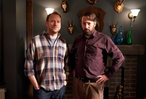 Robert Webb as Andrew, David Mitchell as Stephen - Back _ Season 2, Episode 2 - Photo Credit: Sundance Now
