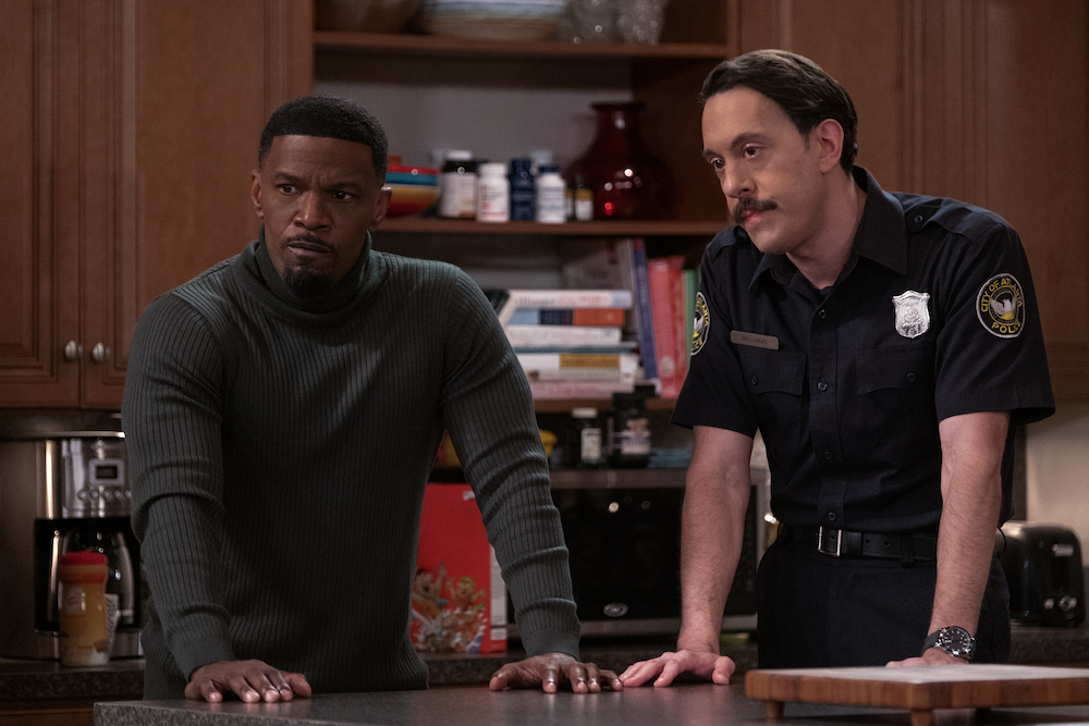 DAD STOP EMBARRASSING ME (L to R) JAMIE FOXX as BRIAN and JONATHAN KITE as JOHNNY in episode 107 of DAD STOP EMBARRASSING ME Cr. EDDY CHEN/NETFLIX © 2021