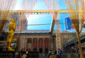 Preparations for the Oscars outside the Dolby Theatre, Hollywood