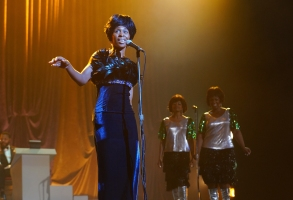 L to R: Aretha Franklin, played by Cynthia Erivo, Carolyn Franklin, played by Rebecca Naomi Jones, and  Erma Franklin, played by Patrice Covington perform on stage. (Credit: National Geographic/Richard DuCree)