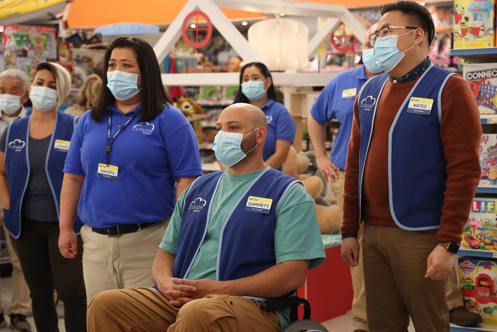 "SUPERSTORE -- ""Perfect Store"" Episode 614 -- Pictured: (l-r) Kaliko Kauahi as Sandra, Colton Dunn as Garrett, Nico Santos as Mateo -- (Photo by: Jordin Althaus/NBC)"