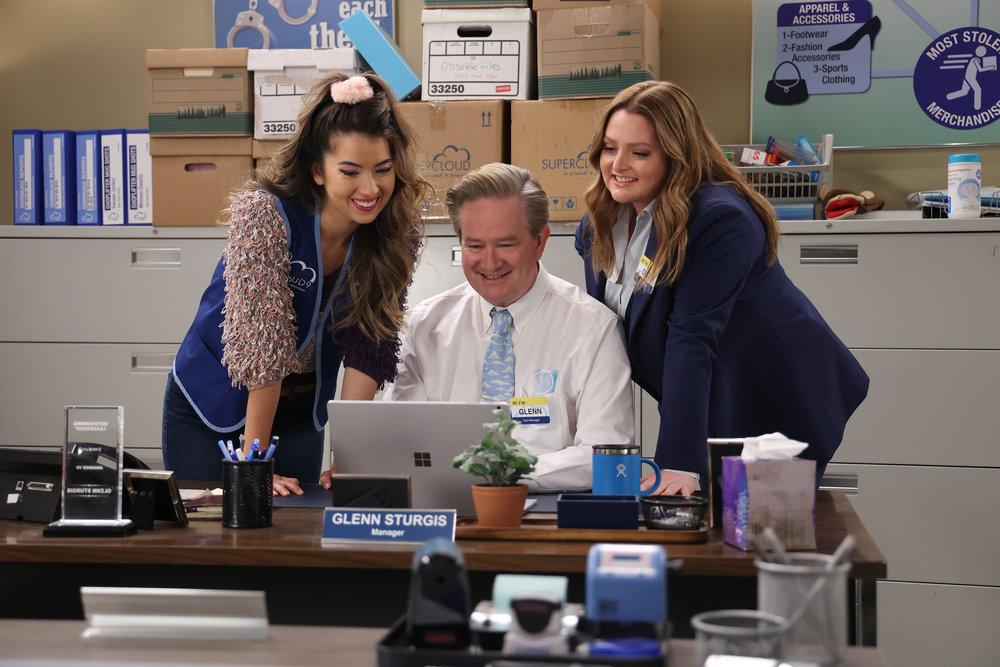 "SUPERSTORE -- ""Perfect Store"" Episode 614 -- Pictured: (l-r) Nichole Sakura as Cheyenne, Mark McKinney as Glenn, Lauren Ash as Dina -- (Photo by: Jordin Althaus/NBC)"