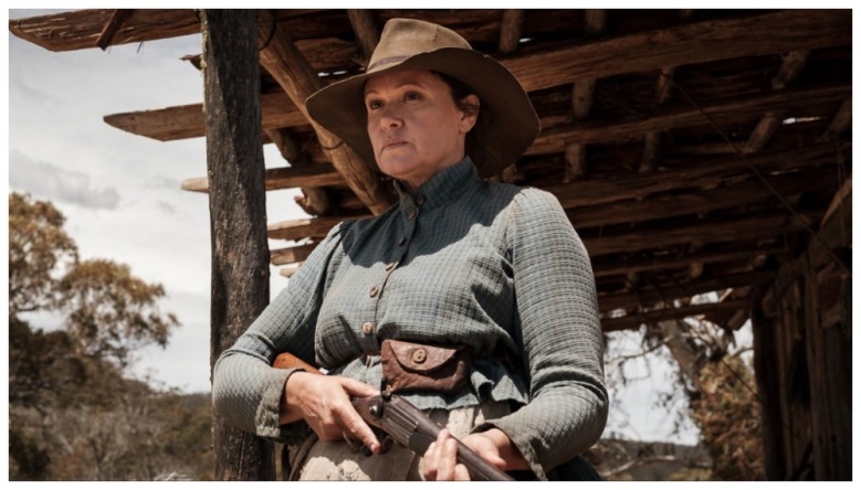 a still from the film The Drover's Wife