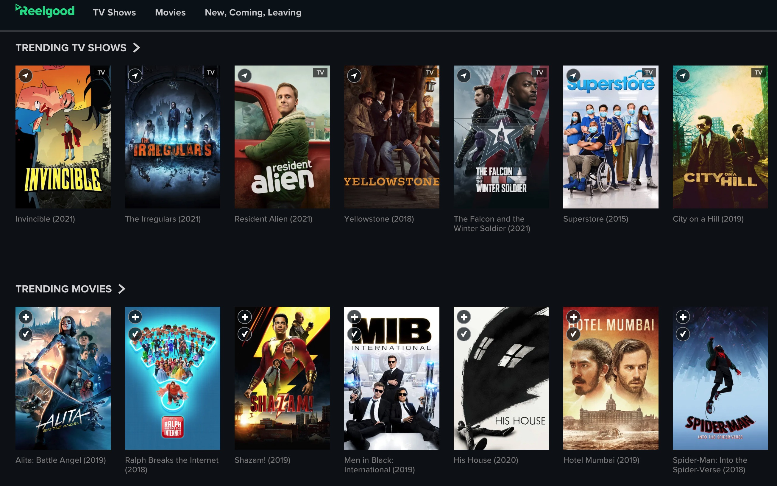 Reelgood shows trending shows and movies on Prime, Netflix, Peacock, fuboTV, and more.