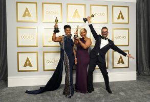 """Mia Neal, from left, Jamika Wilson and Sergio Lopez-Rivera, winners of the award for best makeup and hairstyling for """"Ma Rainey's Black Bottom,"""" pose in the press room at the Oscars on Sunday, April 25, 2021, at Union Station in Los Angeles. (AP Photo/Chris Pizzello, Pool)"""