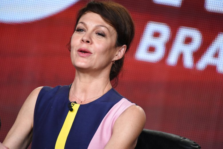 """Helen McCrory speaks on stage during the """"Penny Dreadful"""" panel at the CBS/Showtime 2015 Winter TCA on Monday, Jan. 12, 2015, in Pasadena, Calif. (Photo by Richard Shotwell/Invision/AP)"""