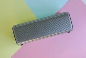 portable bluetooth wireless speaker on pastel background