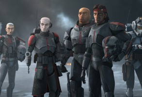 """(L-R): Crosshair, Echo, Wrecker, Hunter and Tech in a scene from """"STAR WARS: THE BAD BATCH"""", exclusively on Disney+. © 2021 Lucasfilm Ltd. & ™. All Rights Reserved."""