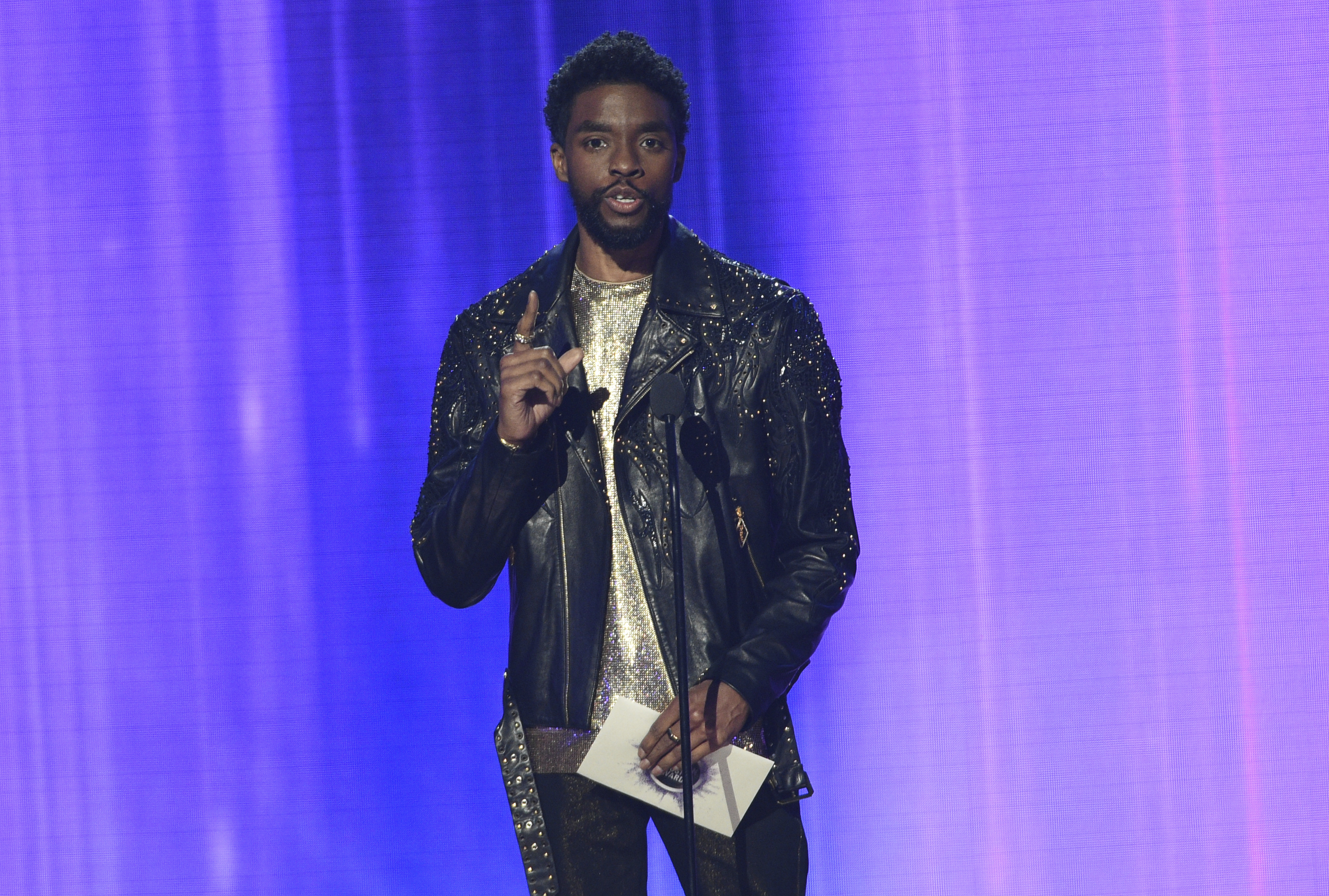 Chadwick Boseman presents the award for favorite alternative rock artist at the American Music Awards on Sunday, Nov. 24, 2019, at the Microsoft Theater in Los Angeles. (Photo by Chris Pizzello/Invision/AP)