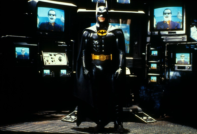 BATMAN, Michael Keaton, Jack Nicholson (on TVs), 1989