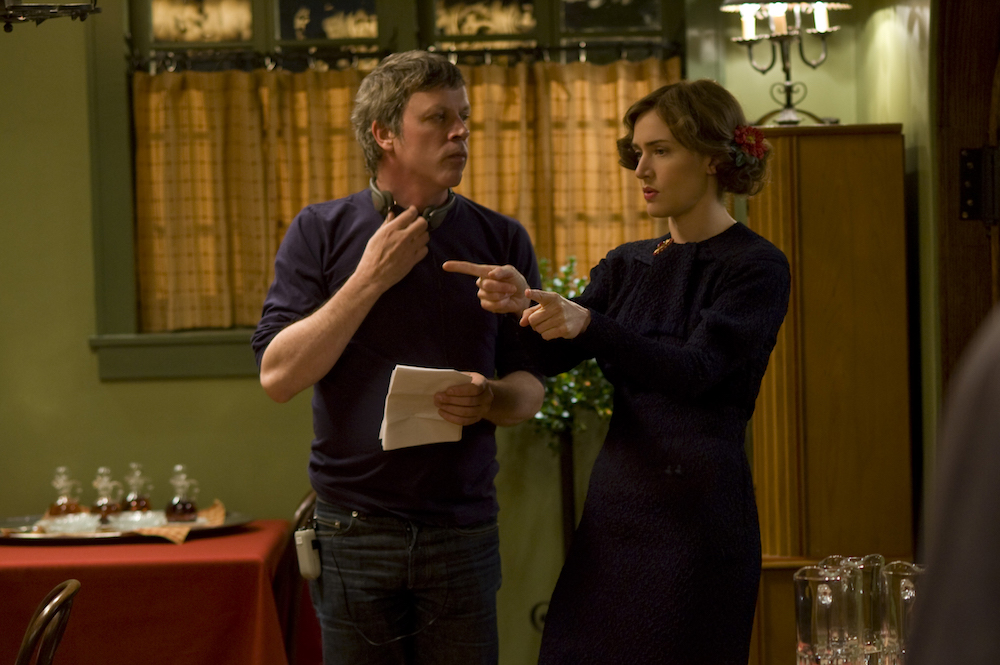 "Todd Haynes and Kate Winslet on the set of ""Mildred Pierce"" on HBO"