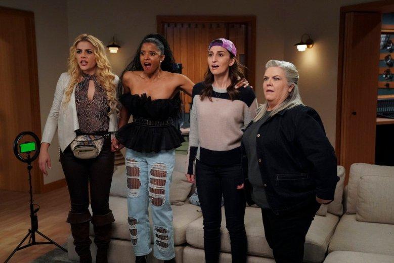 (l-r) Busy Philipps as Summer, Renée Elise Goldsberry as Wickie, Sara Bareilles as Dawn, Paula Pell as Gloria -- (Photo by: Heidi Gutman/Peacock)