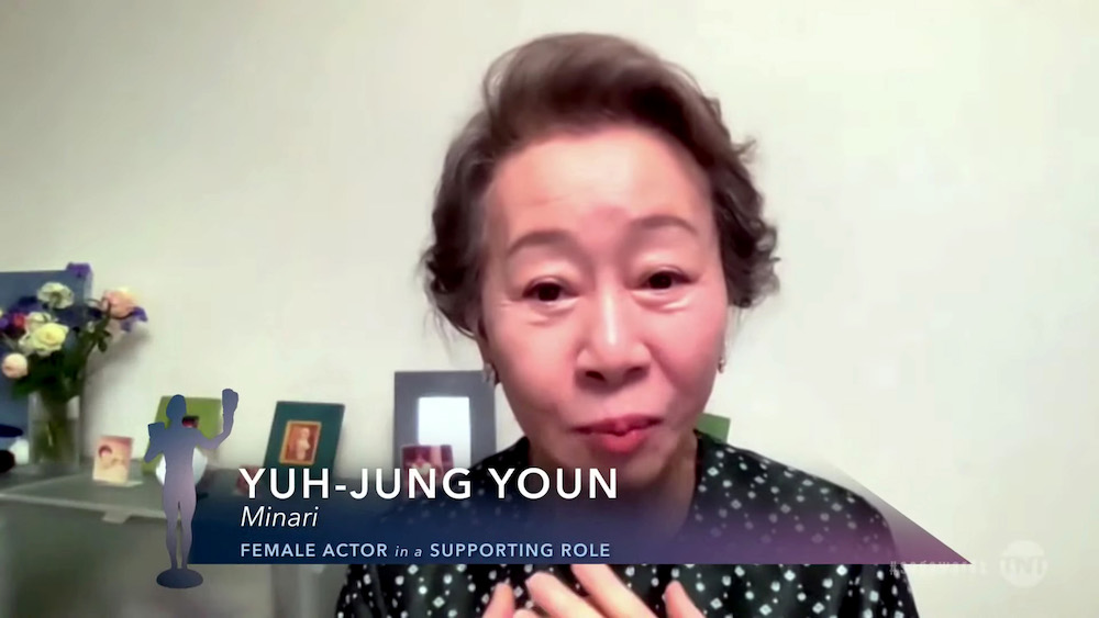 """Screen Actors Guild Awards SAG Awards 2021 speeches In this screengrab released on April 4, 2021, Yuh-Jung Youn, winner of Outstanding Performance by a Female Actor in a Supporting Role for """"Minari"""", speaks during the 27th Annual Screen Actors Guild Awards"""