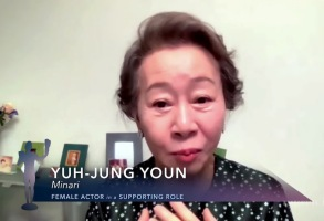"Screen Actors Guild Awards SAG Awards 2021 speeches In this screengrab released on April 4, 2021, Yuh-Jung Youn, winner of Outstanding Performance by a Female Actor in a Supporting Role for ""Minari"", speaks during the 27th Annual Screen Actors Guild Awards"