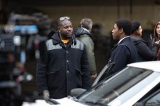 "Steve McQueen with John Boyega on the set of ""Small Axe"""