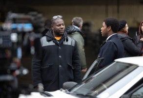 "Steve McQueen with John Boyega on the set of ""Small Axe"""