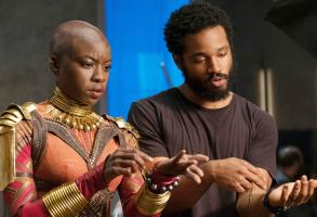 """Ryan Coogler on the set of """"Black Panther"""""""