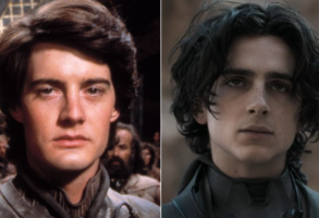 """Kyle MacLachlan and Timothee Chalamet in two versions of """"Dune"""""""