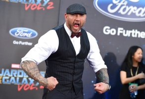 """Dave Bautista arrives at the world premiere of """"Guardians of the Galaxy Vol. 2"""" at the Dolby Theatre on Wednesday, April 19, 2017, in Los Angeles. (Photo by Jordan Strauss/Invision/AP)"""