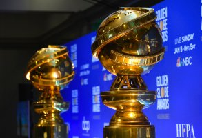 FILE - This Dec. 9, 2019 file photo shows replicas of Golden Globe statues at the nominations for the 77th annual Golden Globe Awards  in Beverly Hills, Calif. The 77th annual Golden Globe Awards will be held on Sunday, Jan. 5. (AP Photo/Chris Pizzello, File)