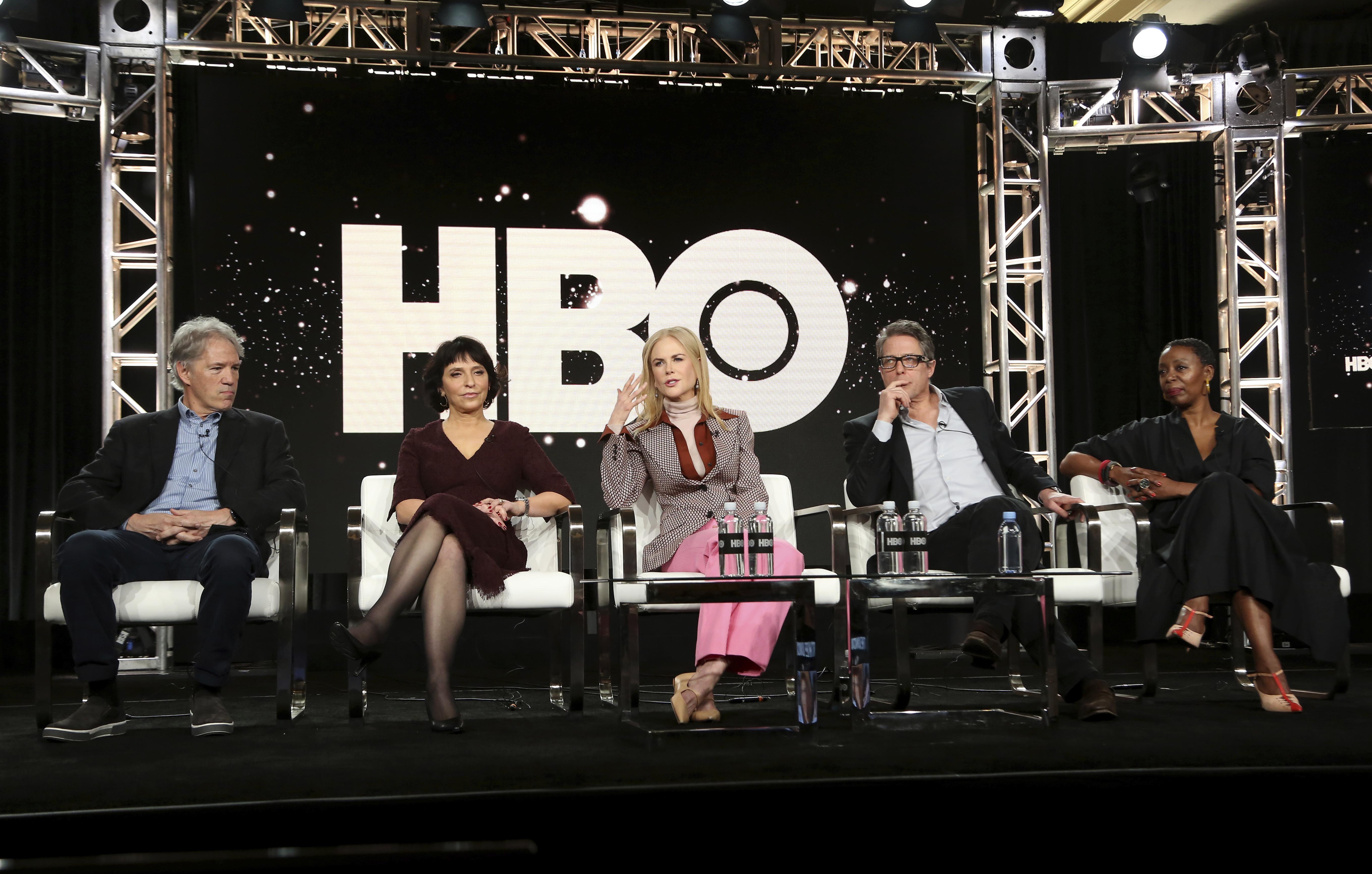 David E. Kelley, from left, Susanne Bier, Nicole Kidman, Hugh Grant and Noma Dumezweni speak at the