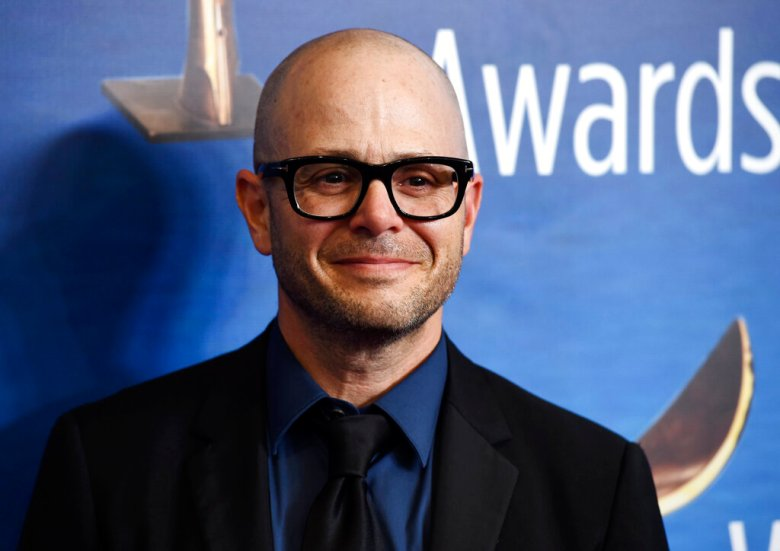 """Damon Lindelof, the creator/executive producer/writer of the HBO television series """"Watchmen,"""" poses at the 2020 Writers Guild Awards at the Beverly Hilton, Saturday, Feb. 1, 2020, in Beverly Hills, Calif. (AP Photo/Chris Pizzello)"""