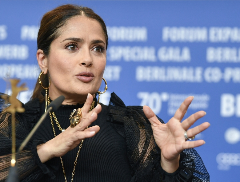 """26 February 2020, Berlin: 70th Berlinale, """"The Roads Not Taken"""" - Press conference: Actress Salma Hayek. The International Film Festival takes place from 20.02. to 01.03.2020. Photo by: Jens Kalaene/picture-alliance/dpa/AP Images"""