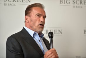 """Arnold Schwarzenegger arrives at The Big Screen is Back"""" media event, including ten studios convening to showcase a sampling of their summer movie releases, on Wednesday, May 19, 2021, at AMC Century City 15 in Los Angeles. (Photo by Richard Shotwell/Invision/AP)"""