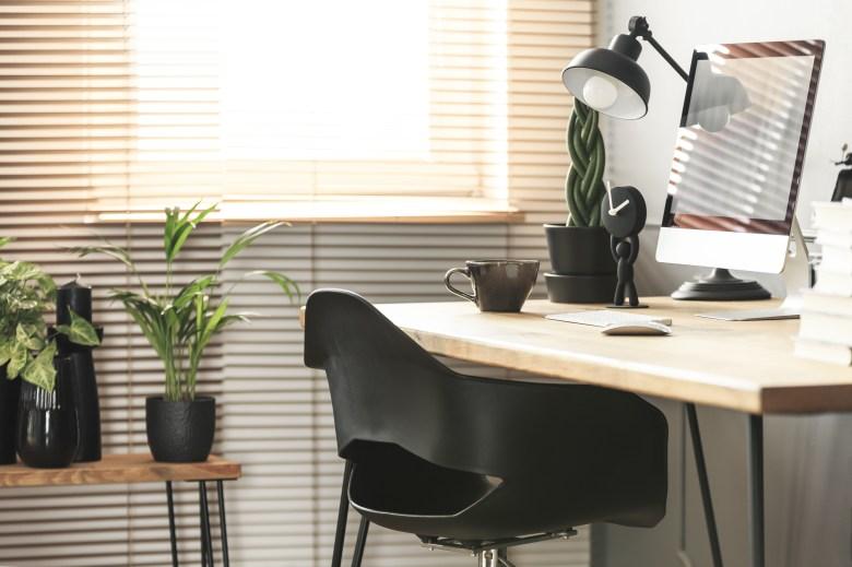 office desk, computer