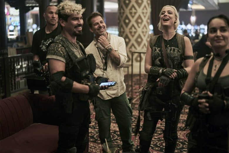 ARMY OF THE DEAD, foreground from left: Raul Castillo, director Zack Snyder, Nora Arnezeder, Ana de la Reguera, on set, 2021. ph: Clay Enos / © Netflix / courtesy Everett Collection