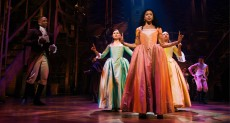 HAMILTON, foreground from left: Leslie Odom Jr. as Aaron Burr, Phillipa Soo as Eliza Hamilton, Renee Elise Goldsberry as Angelica Schuyler, Jasmine Cephas Jones as Peggy Schuyle, 2020. © Disney+ / Courtesy Everett Collection