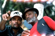 PANTHER, director Mario Van Peebles with father/writer Melvin Van Peebles on set, 1995, (c)Gramercy Pictures/courtesy Everett Collection