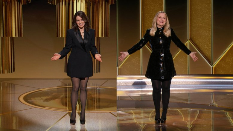 78th ANNUAL GOLDEN GLOBE AWARDS -- Pictured in this screen grab: (l-r) Hosts, Tina Fey and Amy Poehler at the 78th Annual Golden Globe Awards on February 28, 2021. -- (Photo by: NBC)