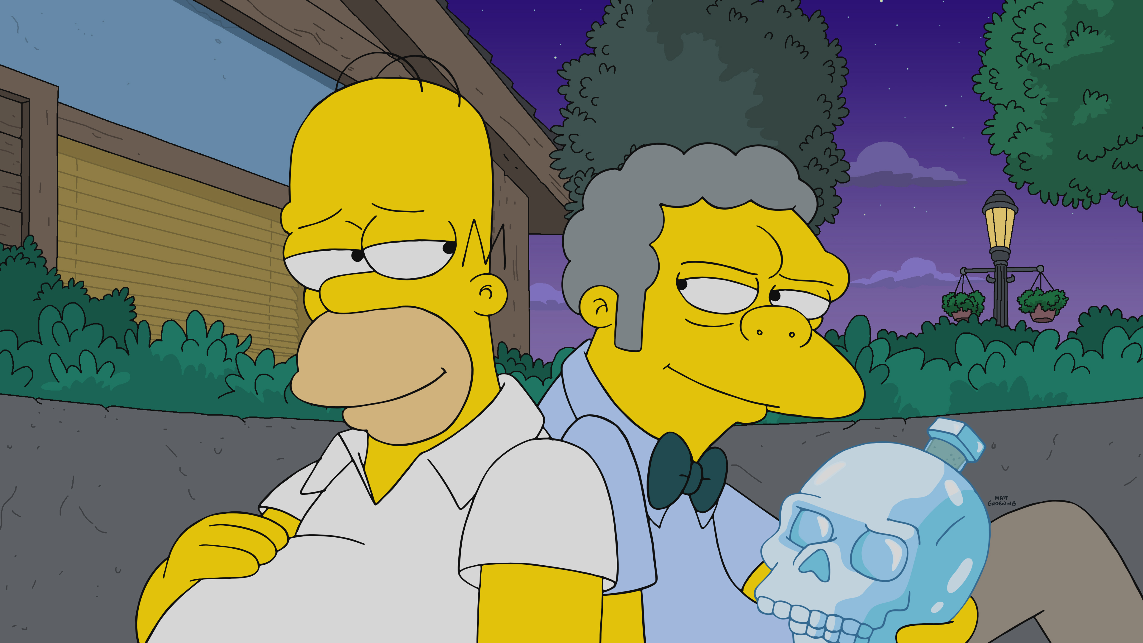 THE SIMPSONS: After Moe breaks their most sacred rule, a secret society of bartenders seeks ultimate vengeance on Homer and his friends in the ÒThe Last BarfighterÓ season finale episode of THE SIMPSONS airing Sunday, May 23 (8:00-8:30 PM ET/PT) on FOX. THE SIMPSONS © 2021 by 20th Television.