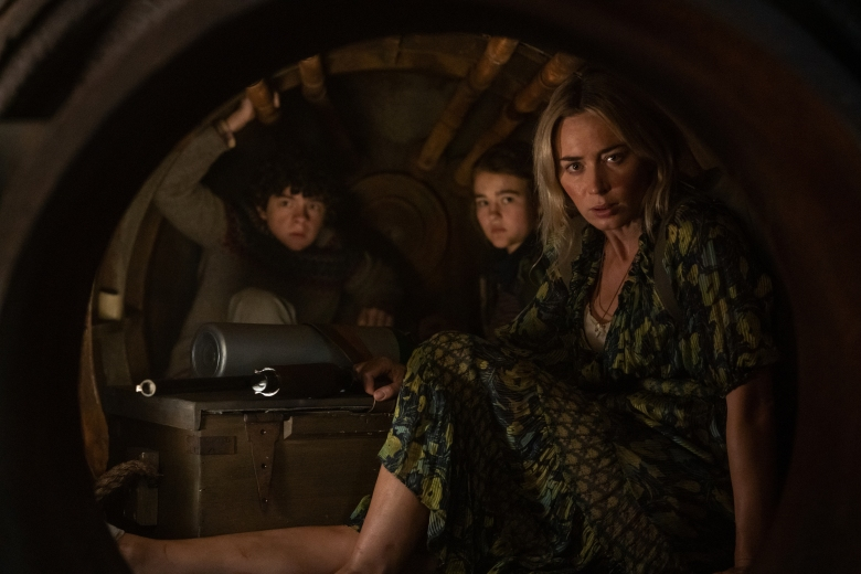 """L-r, Marcus (Noah Jupe), Regan (Millicent Simmonds), and Evelyn (Emily Blunt) brave the unknown in """"A Quiet Place Part II."""""""