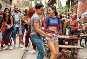 """(Left Center-Right Center) ANTHONY RAMOS as Usnavi and MELISSA BARRERA as Vanessa in Warner Bros. Pictures' """"IN THE HEIGHTS,"""" a Warner Bros. Pictures release."""