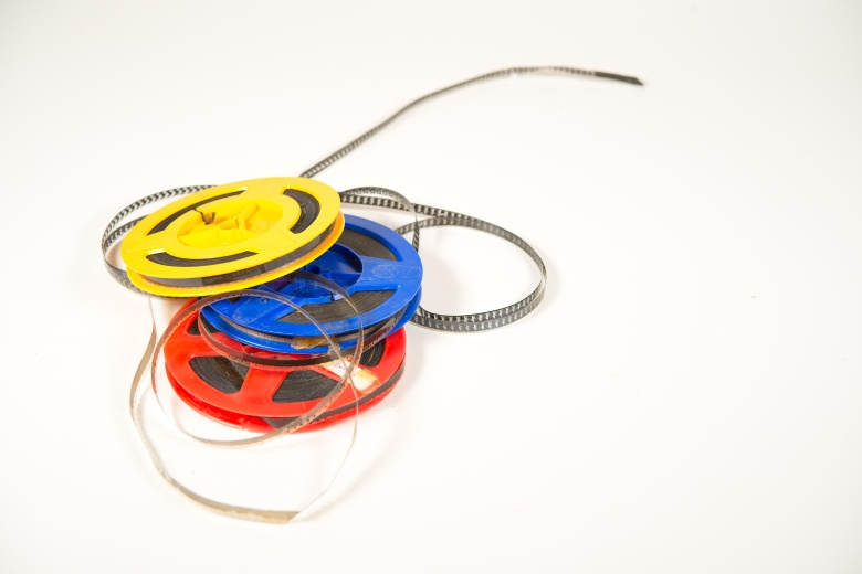 Super 8 film in two colored bobbins