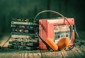 Retro cassette tape with walkman and headphones