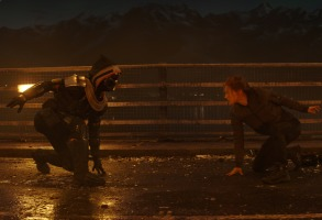 (L-R):Taskmaster and Black Widow/Natasha Romanoff (Scarlett Johansson) in Marvel Studios' BLACK WIDOW, in theaters and on Disney+ with Premier Access. Photo courtesy of Marvel Studios. ©Marvel Studios 2021. All Rights Reserved.