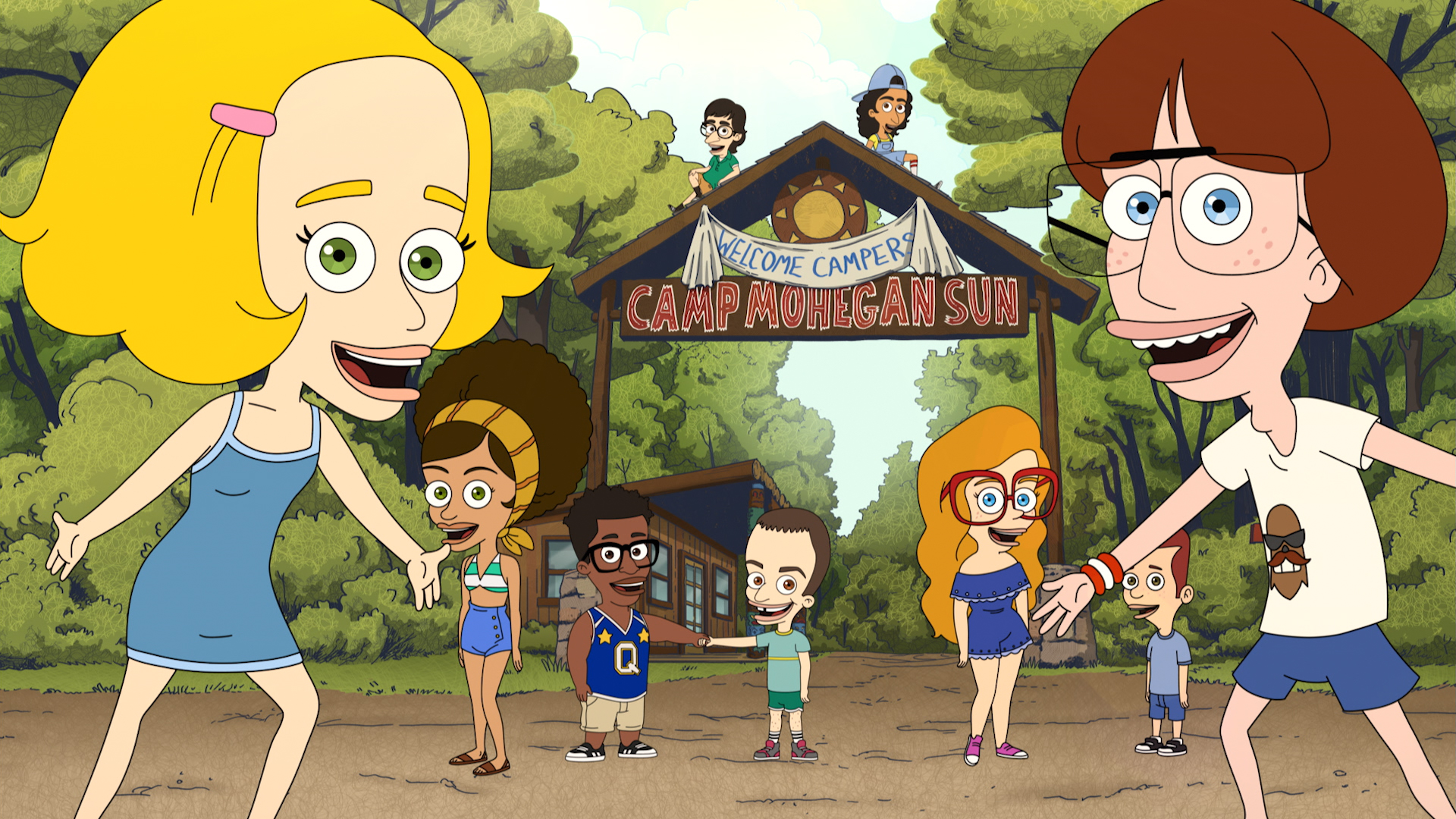 BIG MOUTH (L to R) Alia Shawkat as Roland, Maya Rudolph as Avery, Jak Knight as Del, John Oliver as Harry, Paul Scheer as Schwartz, Mitra Jouhari as Bahar, Maria Bamford as October, and Emily Altman as Milk in episode 1 of BIG MOUTH. Cr. NETFLIX © 2020
