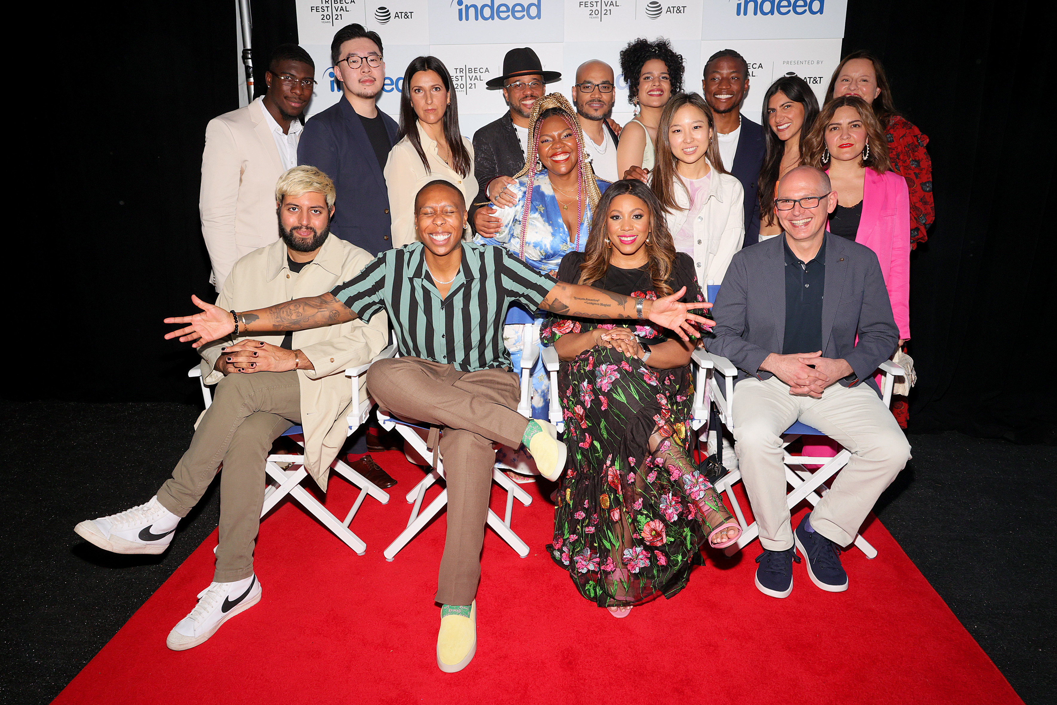 NEW YORK, NEW YORK - JUNE 16: L-R (back-row): Elisee Junior St. Preux, Johnson Cheng, Dre Ryan, Quincy LeNear Gossfield, Stacy Pascal Gaspard, Deondray LeNear Gossfield, Gabriela Ortega, Shelly Yo , Boma Iluma, (front-row): Rishi Rajani, Lena Waithe, LaFawn Davis, and Chris Hyams attend the Indeed Rising Voices Tribeca Premiere at Pier 76 on June 16, 2021 in New York City. (Photo by Theo Wargo/Getty Images for Indeed)