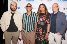 NEW YORK, NEW YORK - JUNE 16: Rishi Rajani, Lena Waithe,  LaFawn Davis, and Chris Hyams attend the Indeed Rising Voices Tribeca Premiere at Pier 76 on June 16, 2021 in New York City. (Photo by Theo Wargo/Getty Images for Indeed)