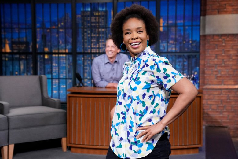 LATE NIGHT WITH SETH MEYERS -- Episode 1158 -- Pictured: Amber Ruffin appears on June 10, 2021 -- (Photo by: Lloyd Bishop/NBC)