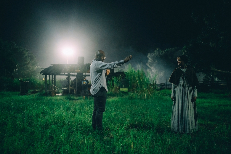 """Director Barry Jenkins and Thuso Mbedu on the set of """"The Underground Railroad"""""""